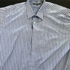 Kenneth Cole Mens Dress Shirt Size 2XL Blue Stripe